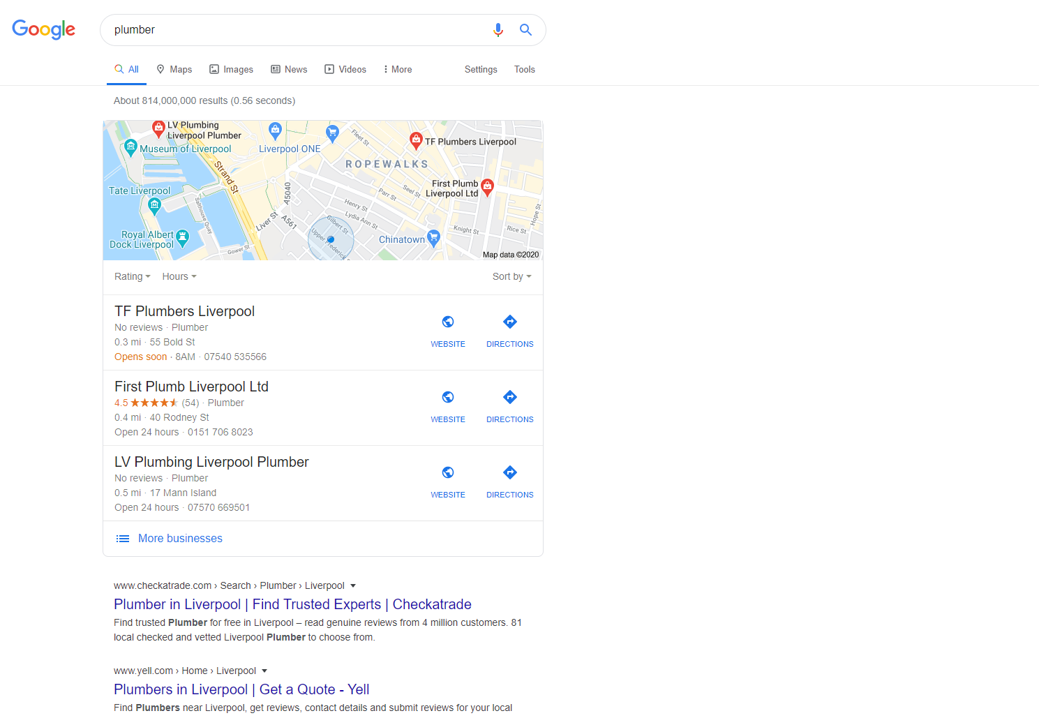Search engine result for plumber in Liverpool